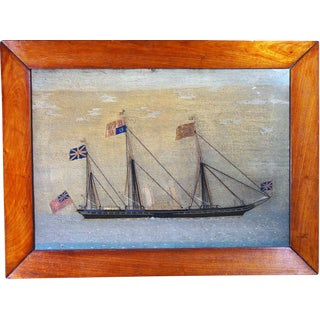 Sailor's Woolwork Woolie Picture of the Royal Yacht, HMY Victoria and Albert II