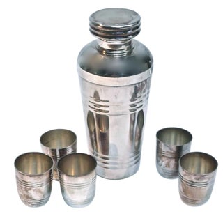 Art Deco Silver Cocktail Shaker & Cups - Set of 6