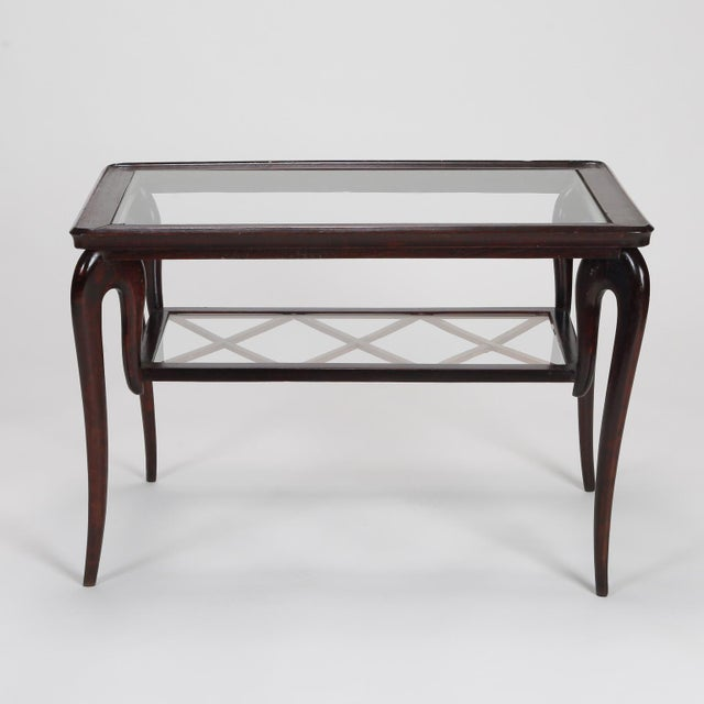 Antique Art Deco Tiered Walnut Glass Side Table - Image 2 of 11