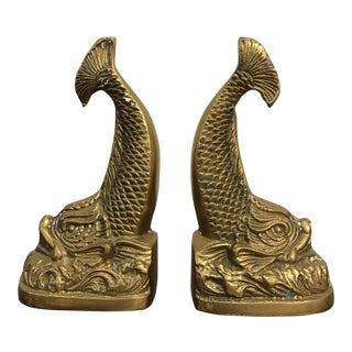 Chinese Brass Carp Bookends - A Pair