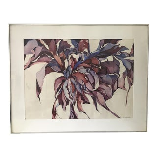 Original Abstract Floral Watercolor Painting Signed C. Segal