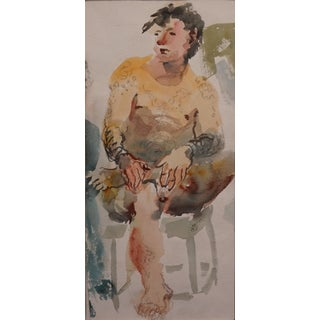 'Man on a Stool' Watercolor & Ink Drawing by Lois Davis