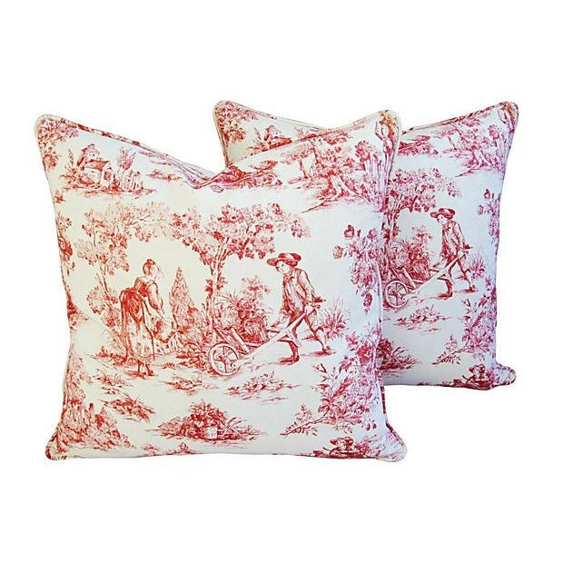 French Country Toile Pillows - A Pair - Image 2 of 6