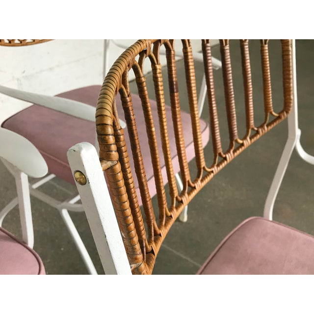 Mid-Century Modern Wrought Iron & Rattan Patio Dining Chairs - Set of 5 - Image 3 of 11
