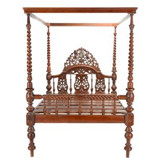 Ornate Anglo Indian Carved Canopy Bed