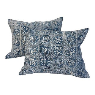 Faded Indigo Asian Batik Pillows - Pair