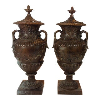 Cast Bronze Urns With Grape Motif
