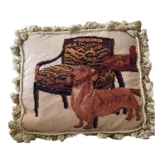 Grand Dachshund Needlepoint Pillow
