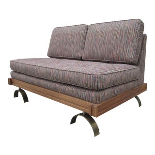 Vintage Martin Borenstein Eames Paul Tuttle Style Steel Walnut Danish Modern Sofa Love Seat