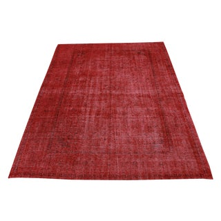 "Red Overdyed Vintage Hand Knotted Rug - 13'2""x9'7"""