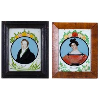 Antique American Folk Art Reverse-Painted Glass Portraits - A Pair