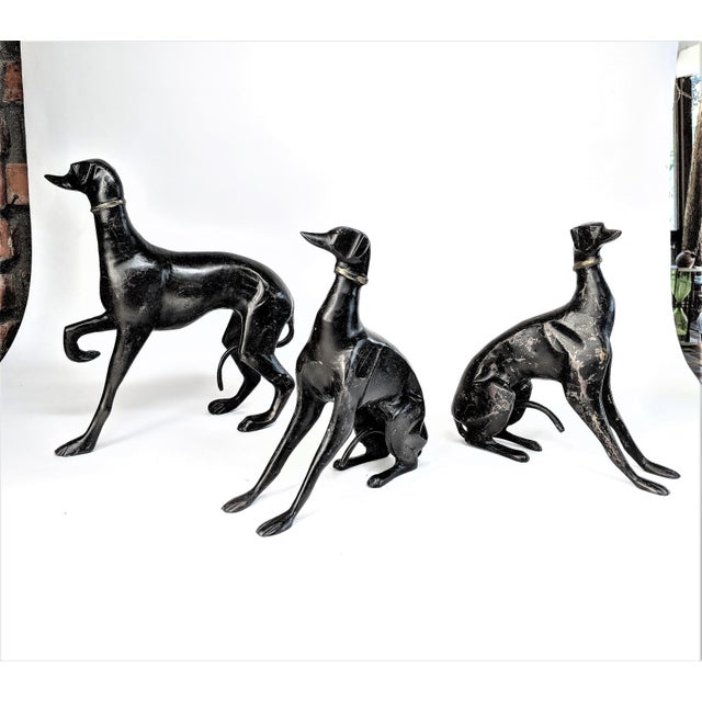 Bronze Greyhound Dog Statues - Set of 3 - Image 2 of 11