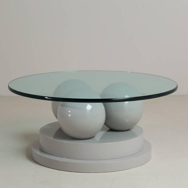 Image of Post Modernist Grey Lacquered Coffee Table, 1980s