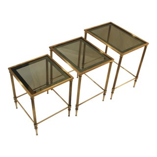 1950's Modern Italian Brass Nesting Tables - Pair
