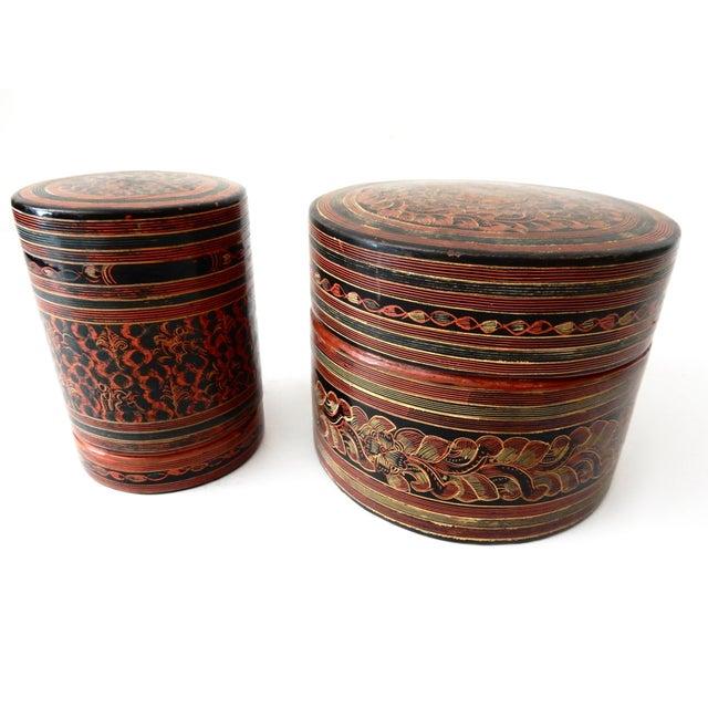 Burmese Lacquerware Betel Nut Boxes - Set of 6 - Image 3 of 8
