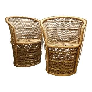 Mid-Century Rattan Tiki Chairs - A Pair