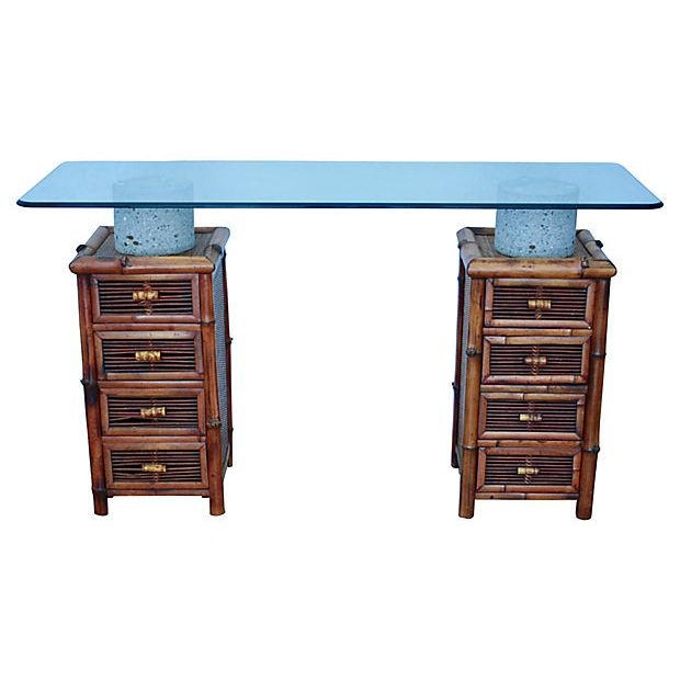 Bamboo, Glass & Concrete Console Table - Image 2 of 10