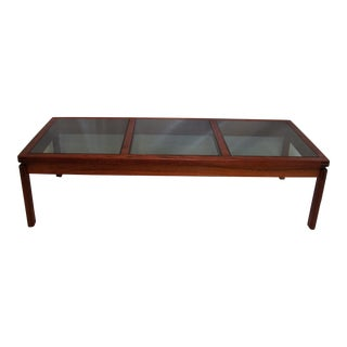 Mid-Century Modern Teak & Smoked Glass Coffee Table