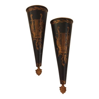 Jeanne Reed's LTD Tole Wall Vases - A Pair