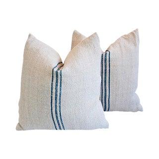 Custom Tailored French Homespun Textile Feather/Down Pillows - Pair