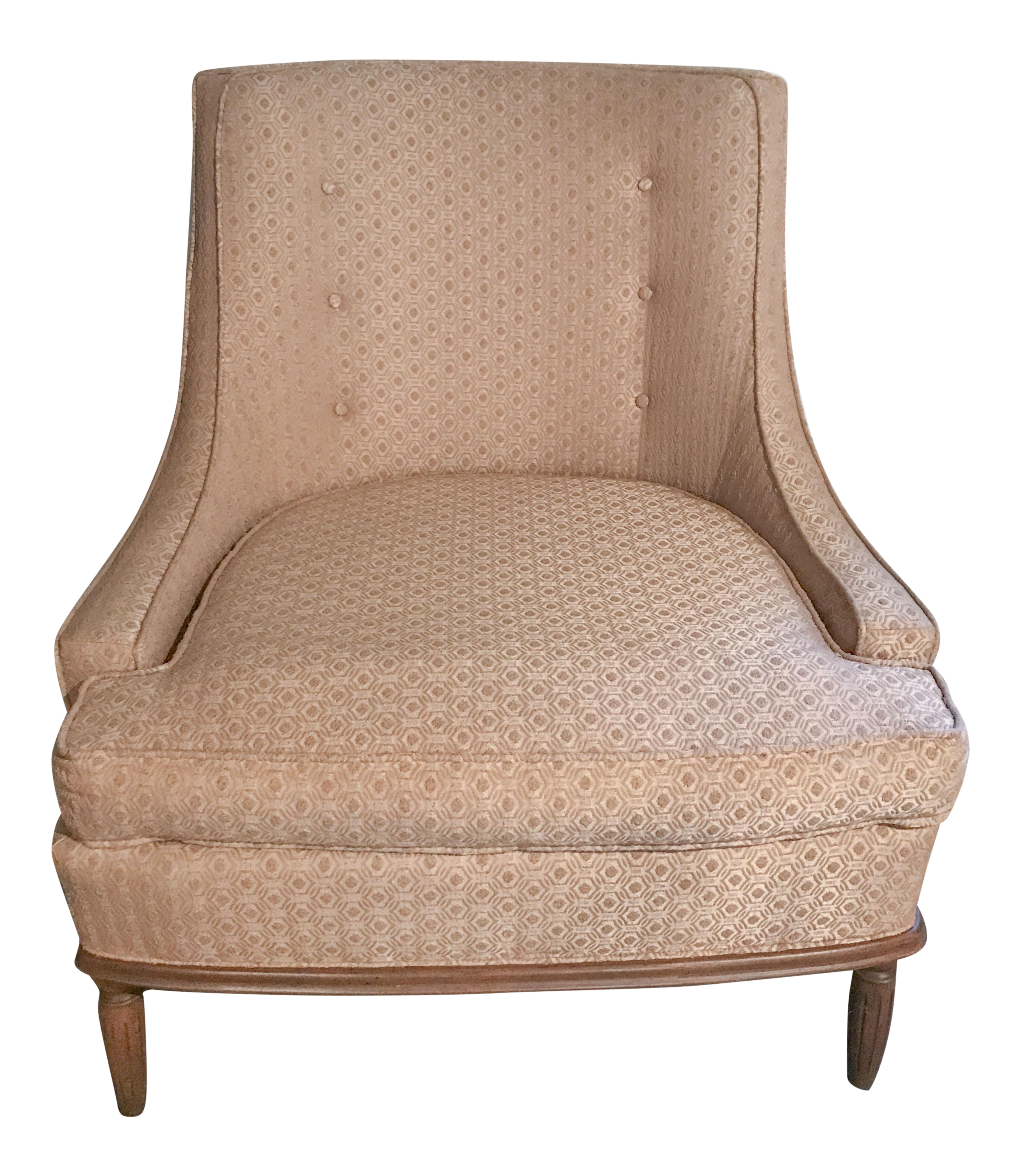 Mid Century Modern Pale Pink Accent Chair