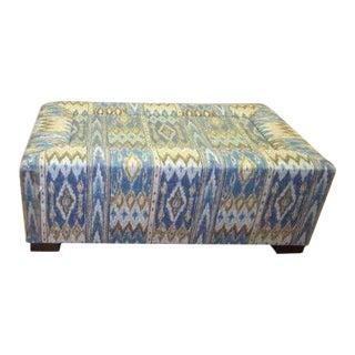 Kravet Blue Patterned Perry Ottoman