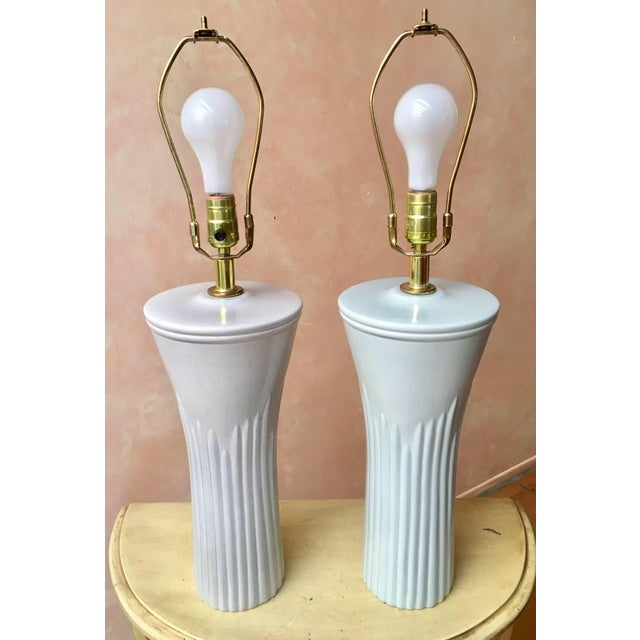 Sea Foam Table Lamps - a Pair - Image 3 of 4
