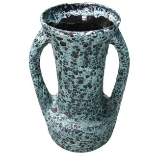Vallauris Turquoise/Black Spotted Vase, France, Mid-Century