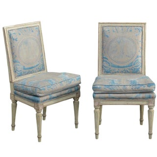 Pair of French Louis XVI Style Slipper Chairs with Fortuny Fabric, circa 1920