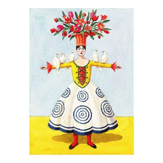 """""""Flower Lady With Doves"""" Giclée Print"""
