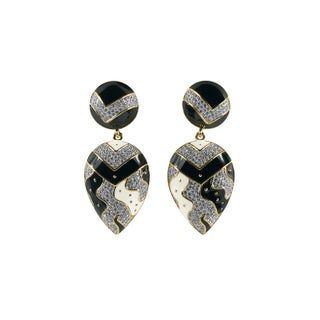 Guy Laroche Black and White Enamel Earrings