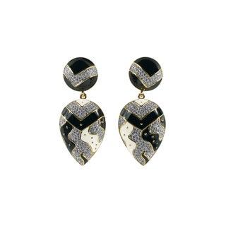 Guy Laroche Black and White Enamel Earrings