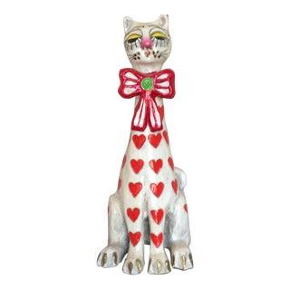 1960's Jeanne Valentine Paper Mâché Heart Cat Sculpture