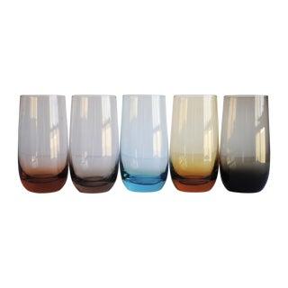 Vintage Multi Color Glasses, Set of 5