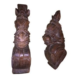 18th Century Rajput Horse Heads - a Pair