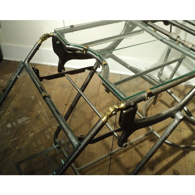 Antique Industrial Metal Glass Medical Chair Table - Image 10 of 11