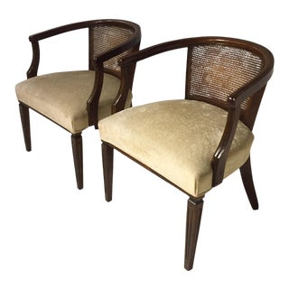 Mid-Century Caned Back Arm Chairs - A Pair