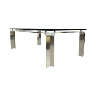 Mid Century Bent Aluminum & Glass Coffee Table