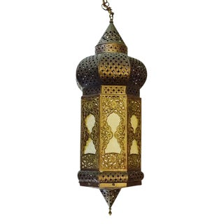 Mid-Century Turkish Pierced Brass Lantern