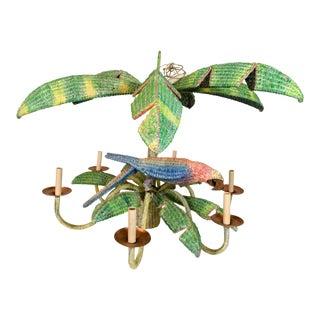 Mario Torres Wicker Parrot Chandelier