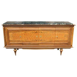 French Art Deco Rosewood Sideboard / Buffet / Bar Marble Top circa 1940s