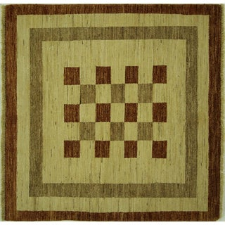 New Checkered Earth Tone Gabbeh Area Rug - 4' x 4'