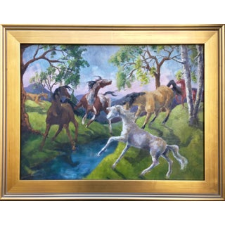 Vintage Expressionist Horse Painting by Joan Adams