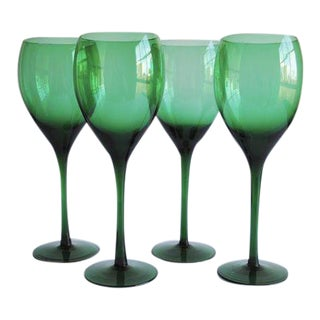 Emerald Green Wine Glasses - Set of 4