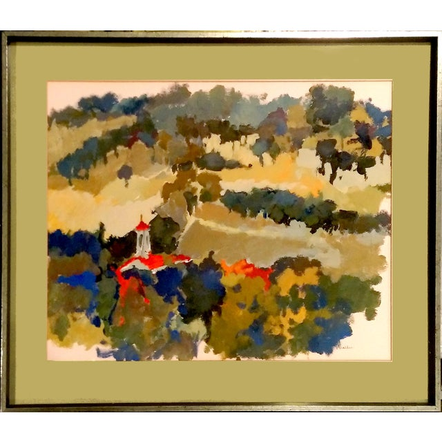 Nan Nalder Abstract Secluded Church Painting - Image 1 of 7