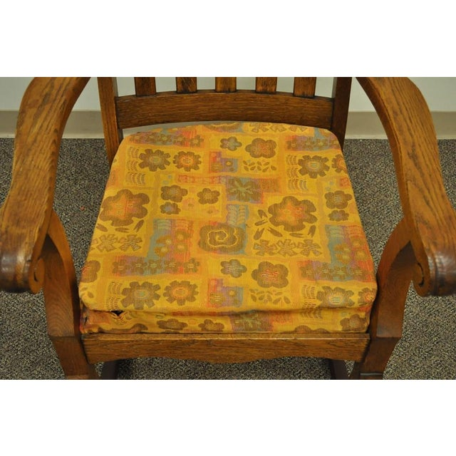 Antique Mission Arts & Crafts Carved Solid Oak Rocking Lounge Chair - Image 6 of 11