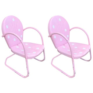 Vintage 1950s Pink & Polka Dot Outdoor Chairs - A Pair