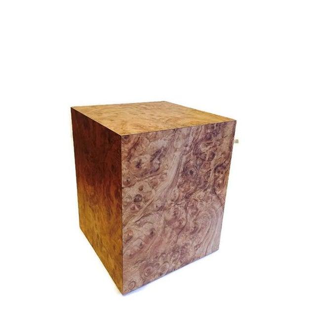 Vintage Burlwood Cube Side Table - Image 3 of 6