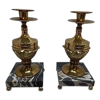 Antique Brass & Marble Candle Holders - A Pair