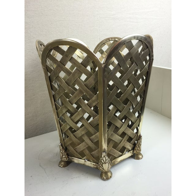 Vintage Woven Brass Wastebasket - Image 2 of 6